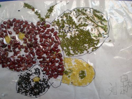 手工作品——豆子粘贴画-快乐童年-我的搜狐