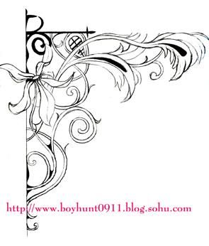 花卉角隅纹样手绘图案