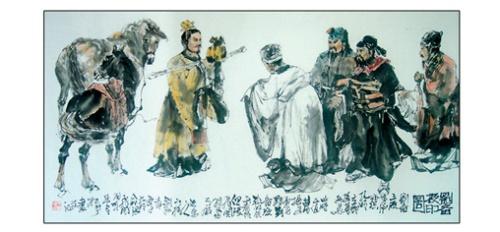 丁义晧三国人物画