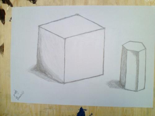 初学素描立方体步骤图