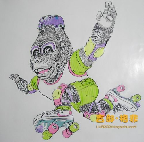 水性马克笔画的滑旱冰的大猩猩