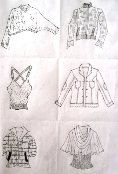 发表  下面是一些服装款式图,老师说创意还可以,只是设计的不够准确