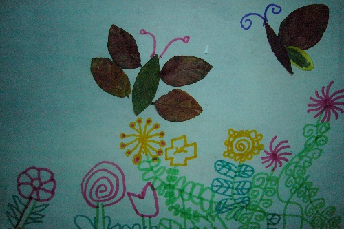 树叶贴画图片