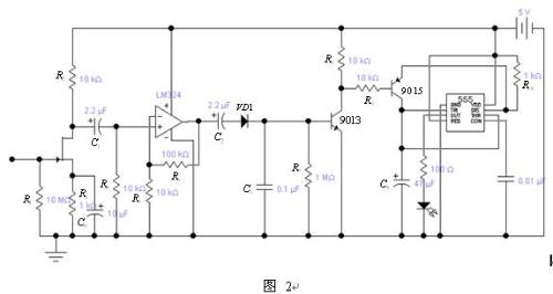 电源供电的lm324放大10倍