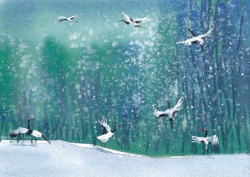 瑞雪兆丰年,白鹤呈祥