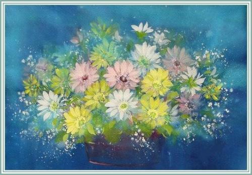 [图片欣赏]一组色彩淡雅的花卉水粉画-小雅的博客-我