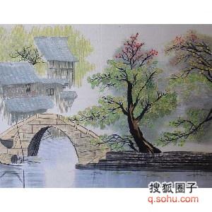 西湖风景水墨画横幅
