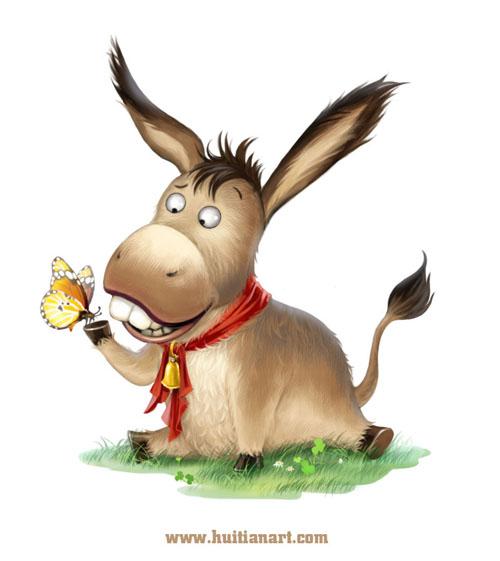 开始画的是一只长着一双大眼睛的很可爱的驴,后来应市场要求改成