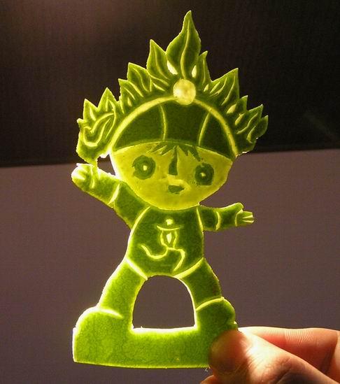 西瓜皮雕刻最简单教程|简单好看的西瓜皮雕刻|最简单的西瓜皮雕刻图片