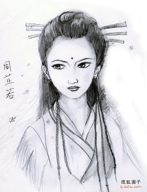 一张手绘黑白古典美女漫画