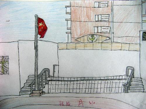 春天的景色儿童画,儿童画春天图画景色,儿童画校园的景色,秋高清图片