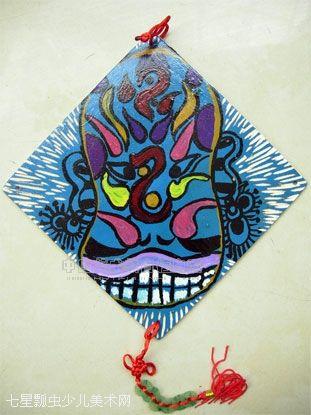 彩绘木板画——时尚挂片( 京剧脸谱 )-莲荷少儿美术吧