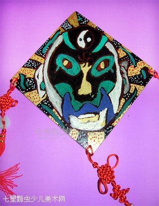 彩绘木板画——时尚挂片(京剧脸谱)-莲荷少儿美术吧